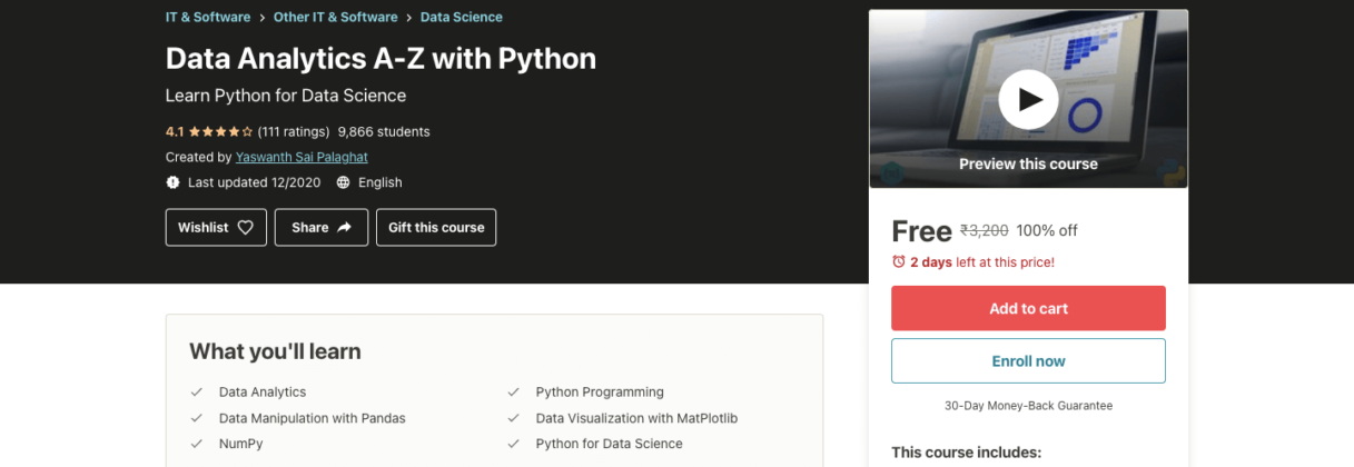 Data Analytics A-Z with Python   Free Online Courses