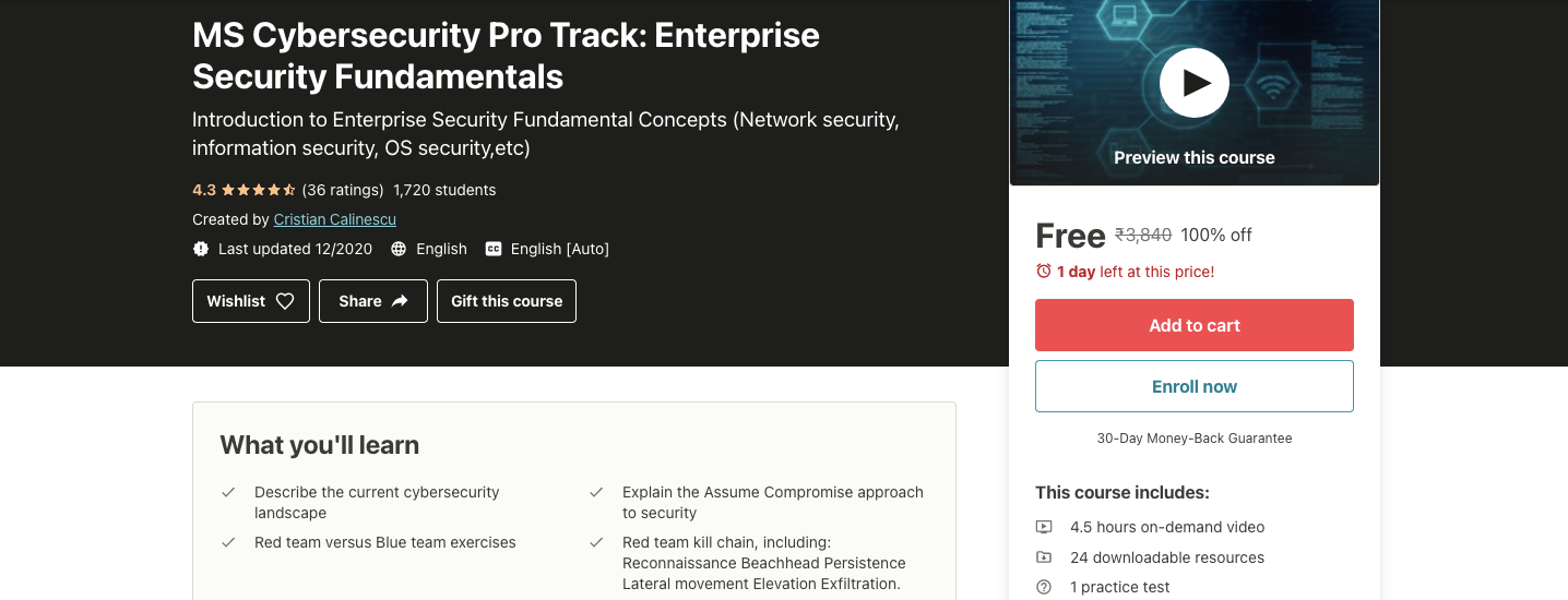 MS Cybersecurity Pro Track: Enterprise Security Fundamentals