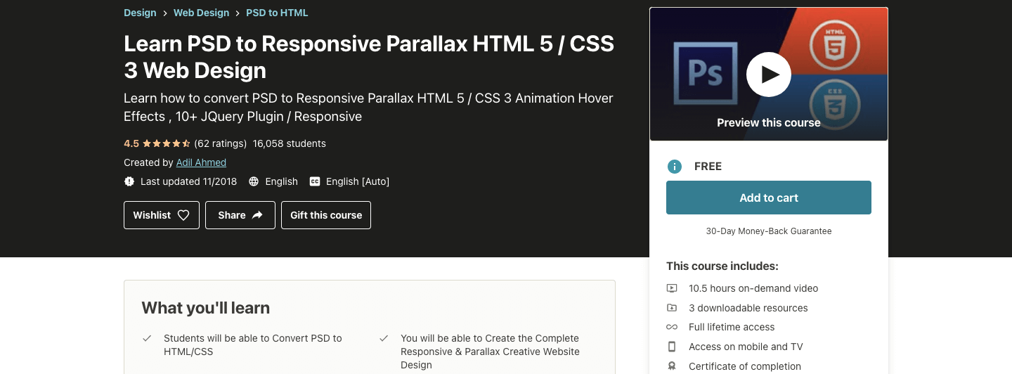 Learn PSD to Responsive Parallax HTML 5 / CSS 3 Web Design