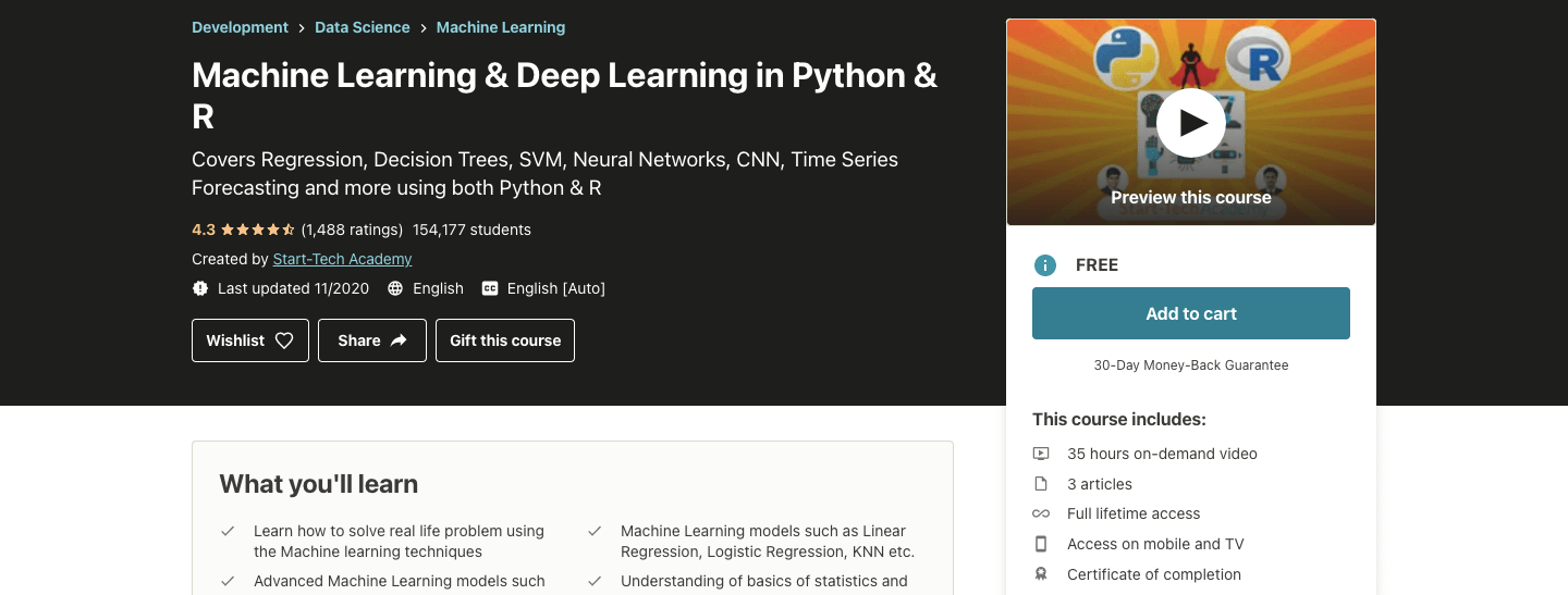 Machine Learning & Deep Learning in Python & R