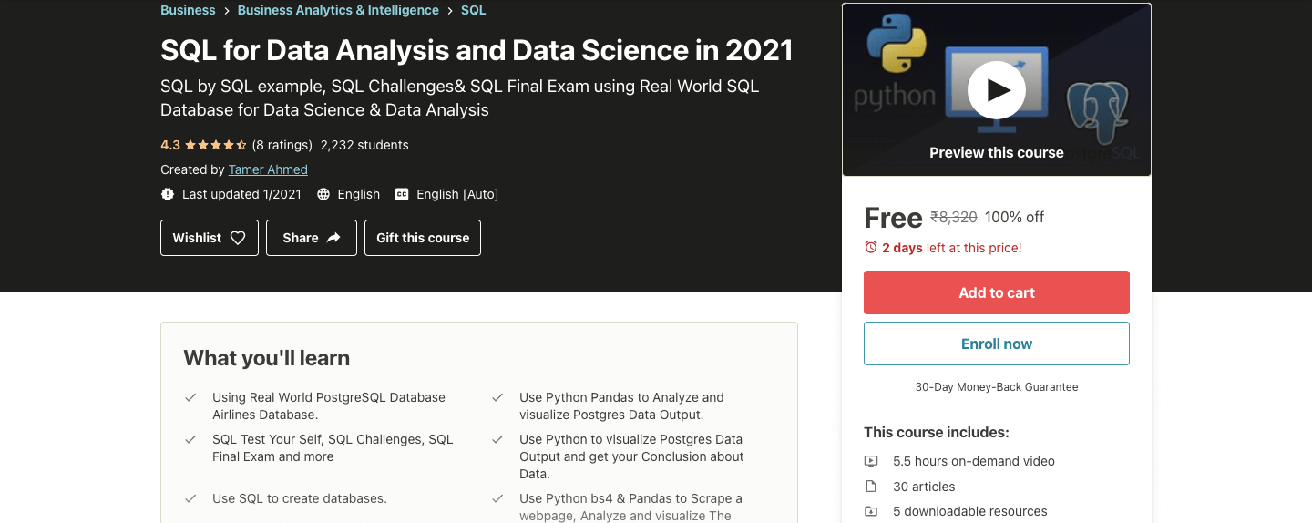 SQL for Data Analysis and Data Science in 2021