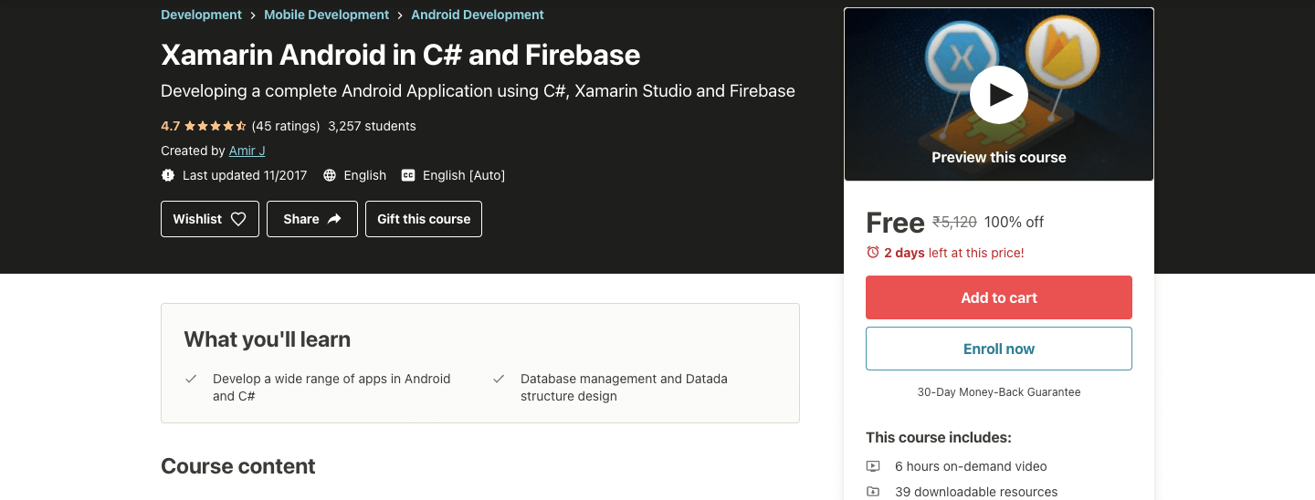 Xamarin Android in C# and Firebase