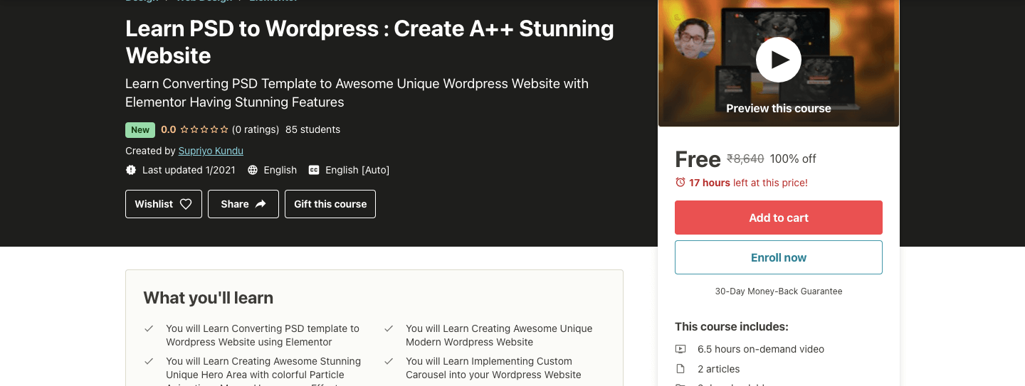 Learn PSD to WordPress : Create A++ Stunning Website