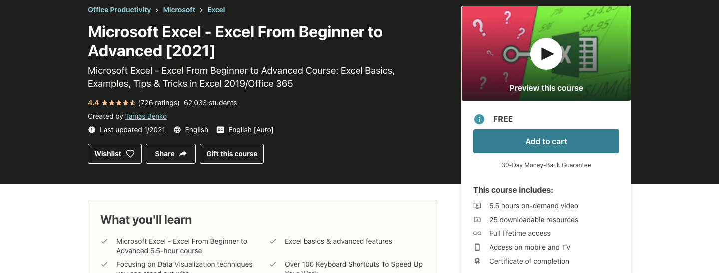 Microsoft Excel - Excel From Beginner to Advanced [2021]
