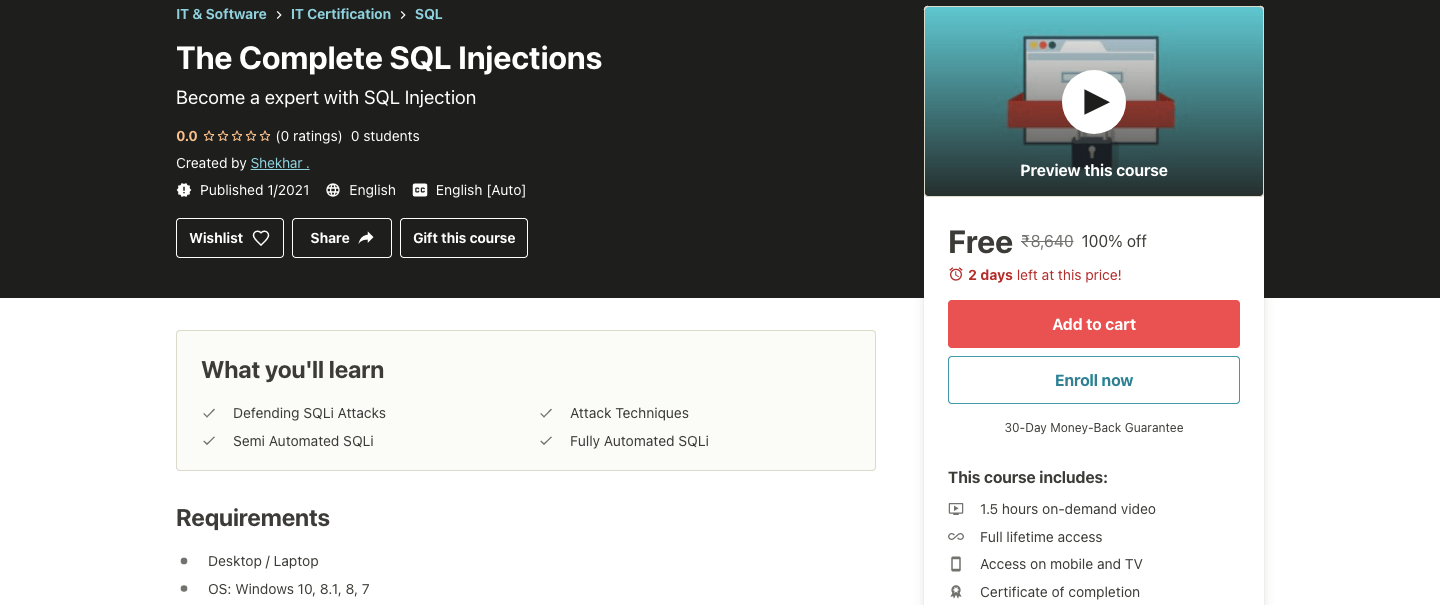 The Complete SQL Injections