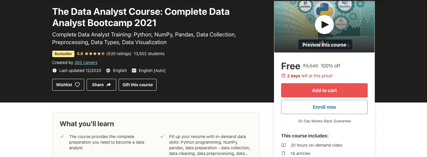 The Data Analyst Course: Complete Data Analyst Bootcamp 2021