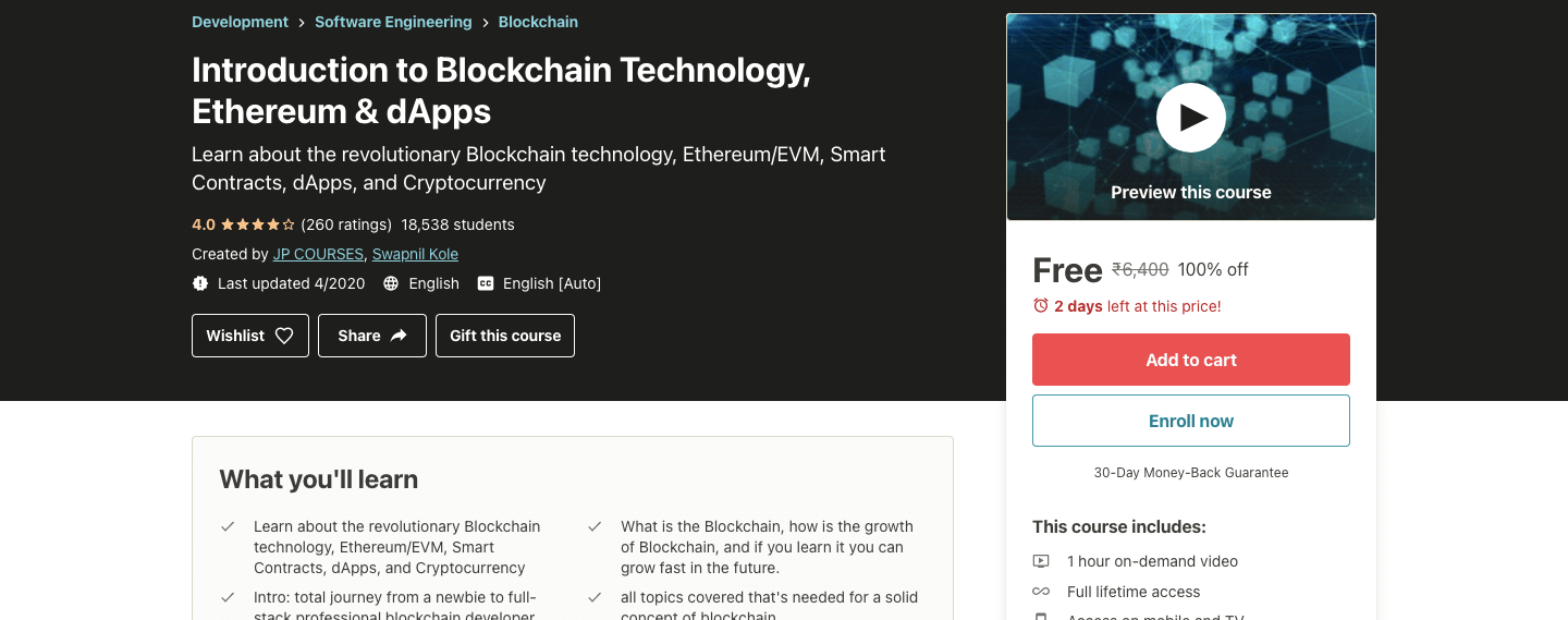 Introduction to Blockchain Technology, Ethereum & dApps