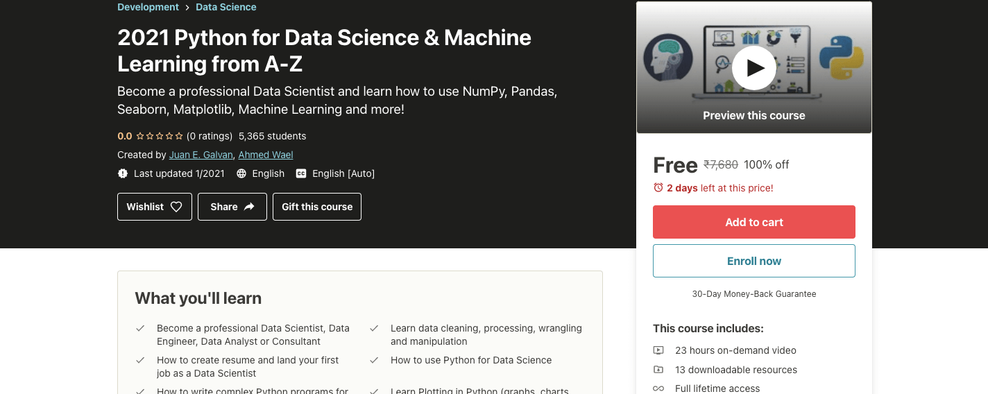 2021 Python for Data Science & Machine Learning from A-Z