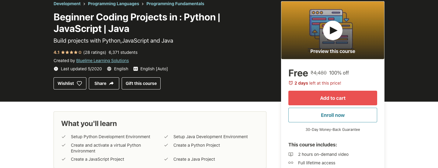 Beginner Coding Projects in : Python | JavaScript | Java