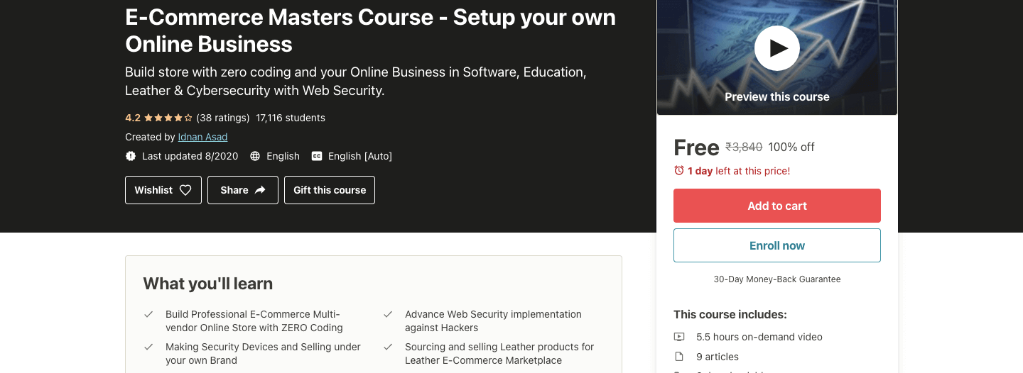 E-Commerce Masters Course - Setup your own Online Business