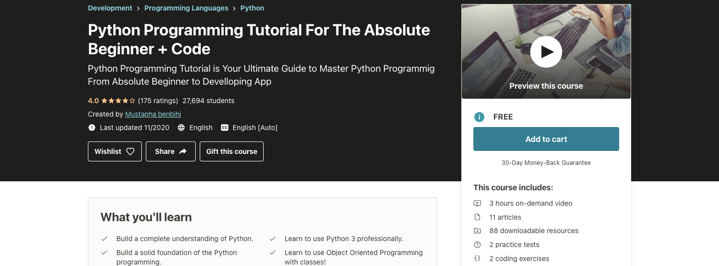 Python Programming Tutorial For The Absolute Beginner + Code