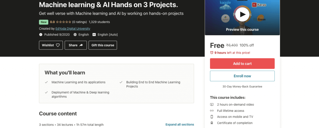 Learn Machine learning & AI (Including Hands-on 3 Projects