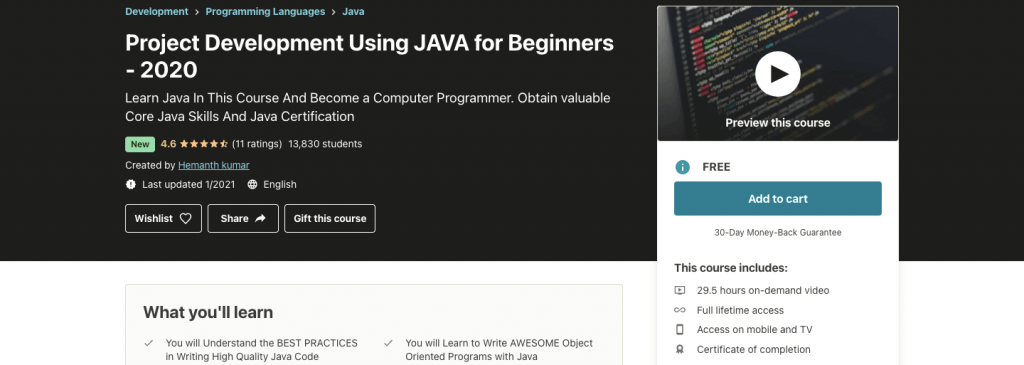 Project Development Using JAVA for Beginners - 2021