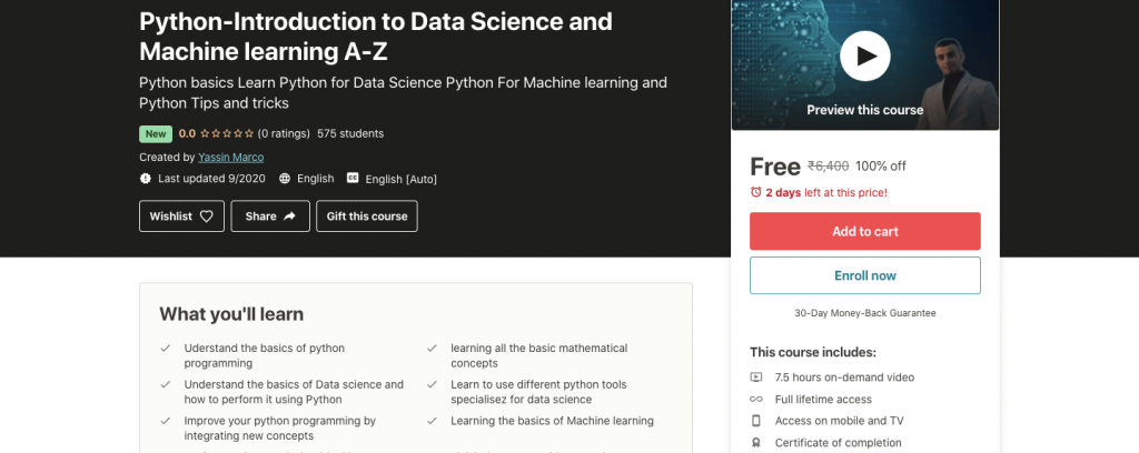 Python - Introduction to Data Science and Machine learning A-Z