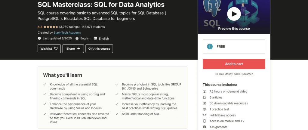 SQL Masterclass: SQL for Data Analytics