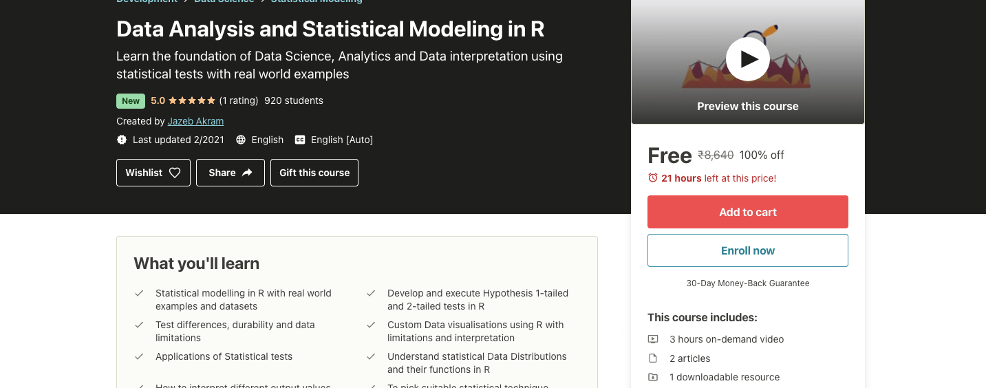 Data Analysis and Statistical Modeling in R