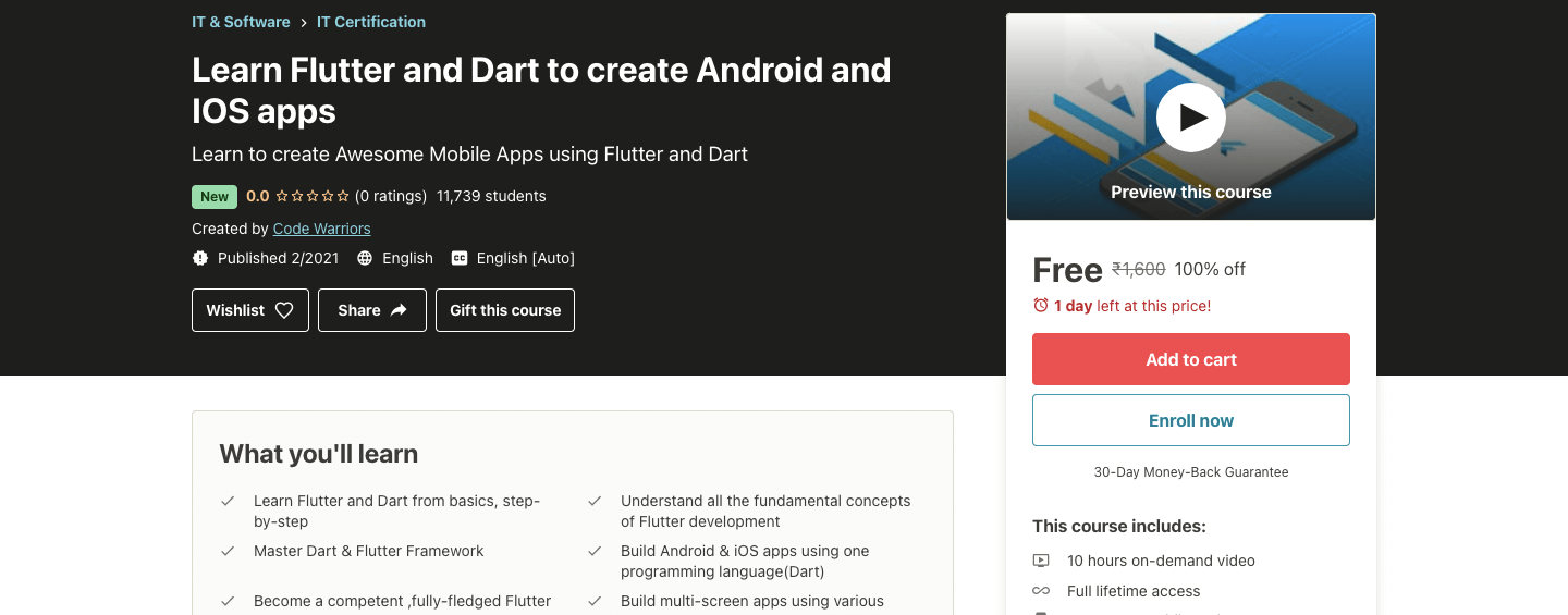 Learn Flutter and Dart to create Android and IOS apps