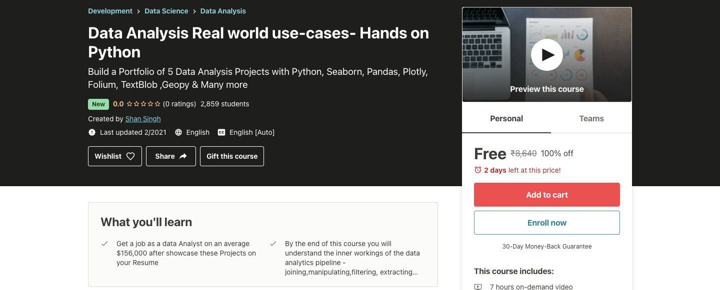 Data Analysis Real world use-cases- Hands on Python`\