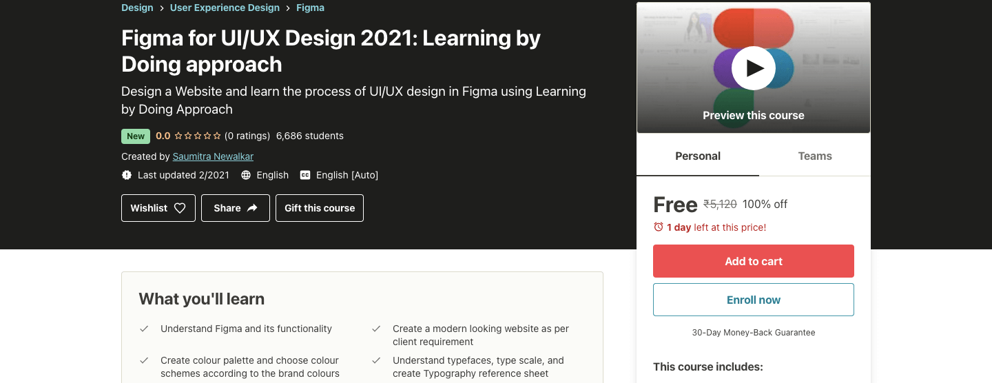 Figma for UI/UX Design 2021: Learning by Doing approach