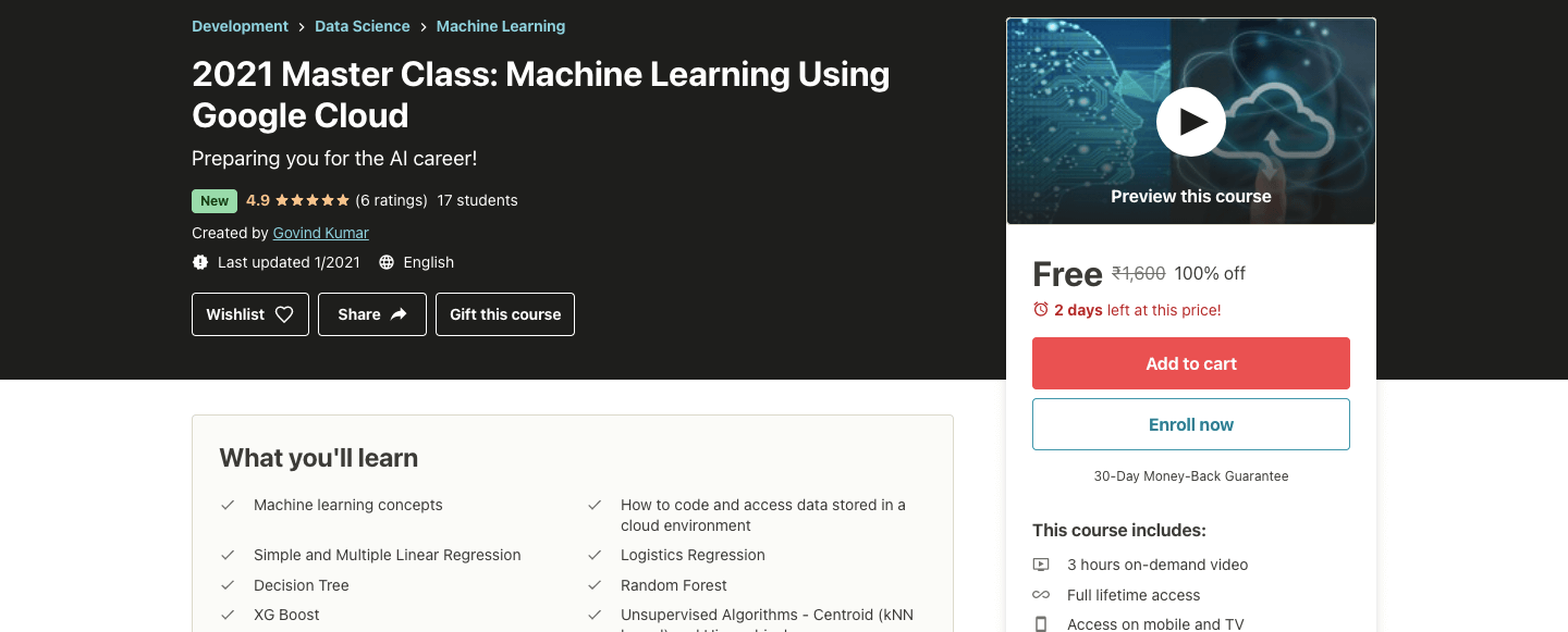 2021 Master Class: Machine Learning Using Google Cloud