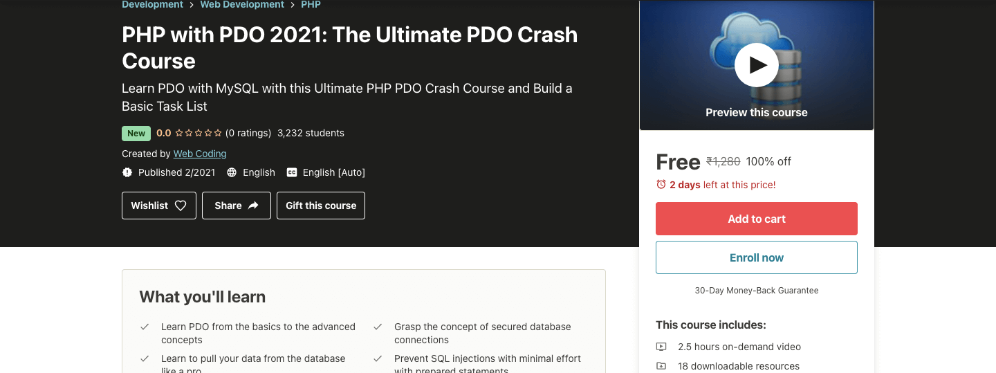 PHP with PDO 2021: The Ultimate PDO Crash Course