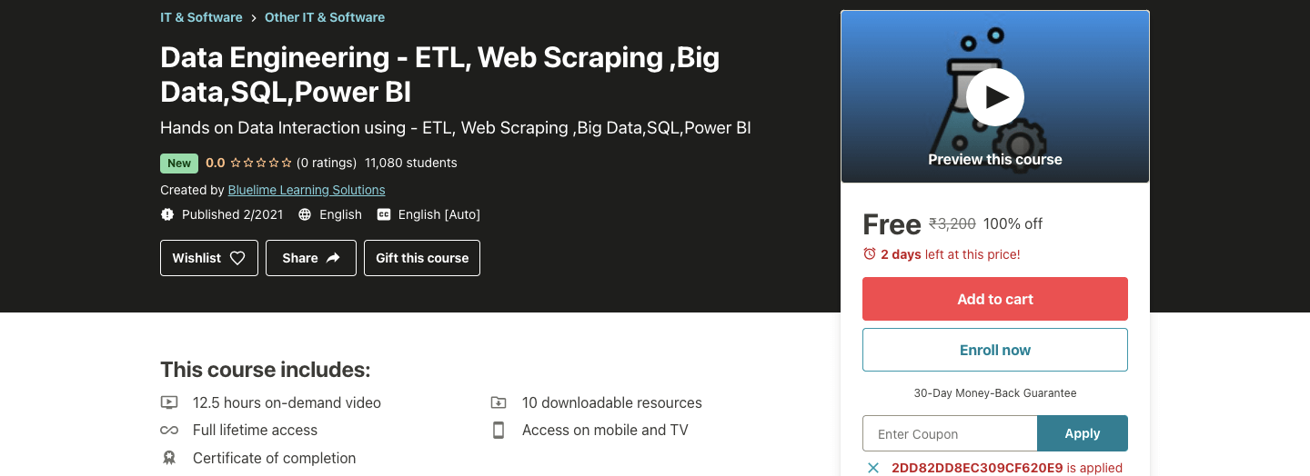 Data Engineering - ETL, Web Scraping ,Big Data,SQL,Power BI