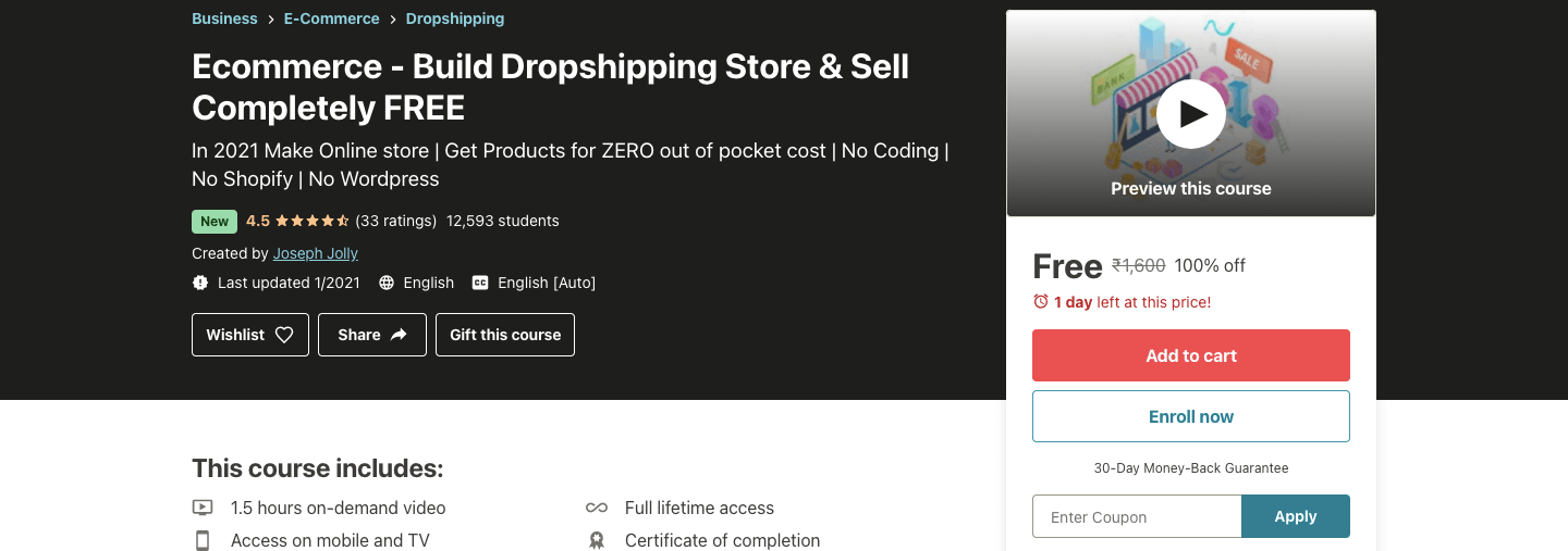 Ecommerce - Build Dropshipping Store & Sell Completely FREE