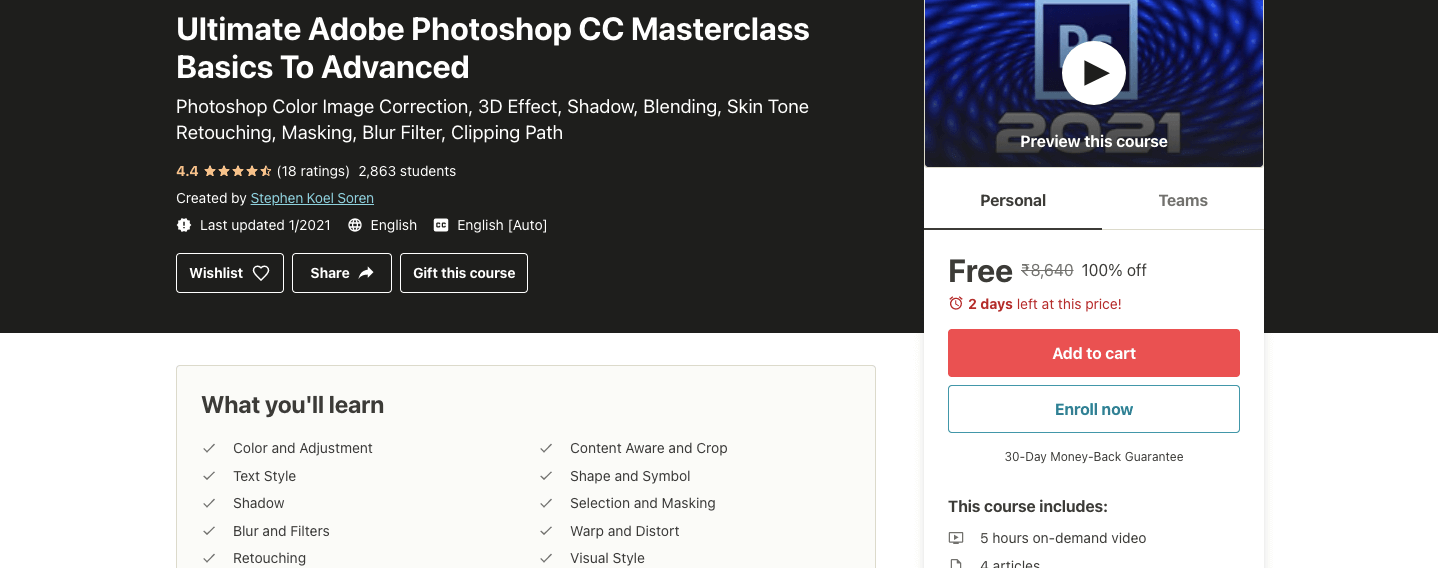 Ultimate Adobe Photoshop CC Masterclass Basics To Advanced