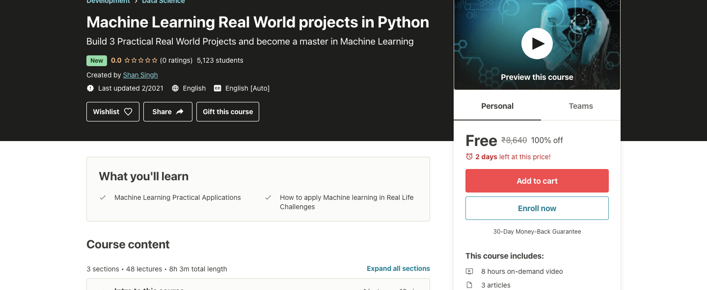 Machine Learning Real World projects in Python