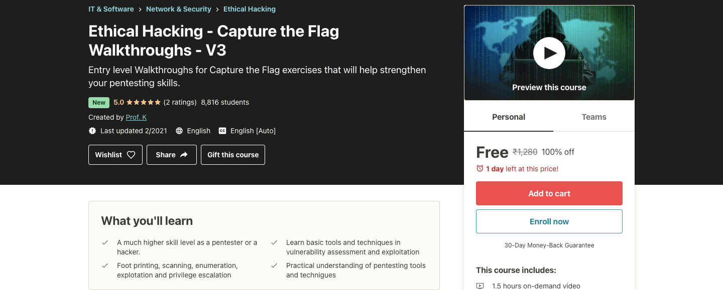 Ethical Hacking - Capture the Flag Walkthroughs - V3