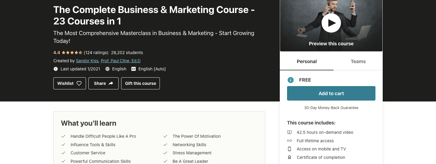 The Complete Business & Marketing Course - 23 Courses in 1