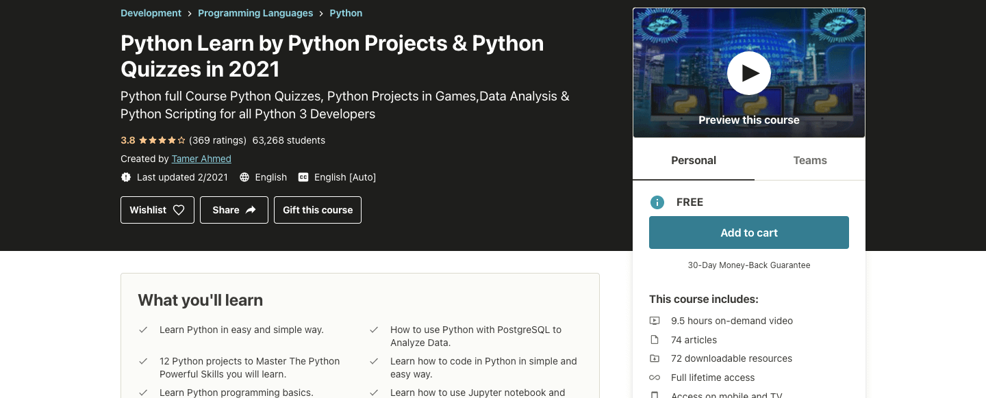 Python Learn by Python Projects & Python Quizzes in 2021