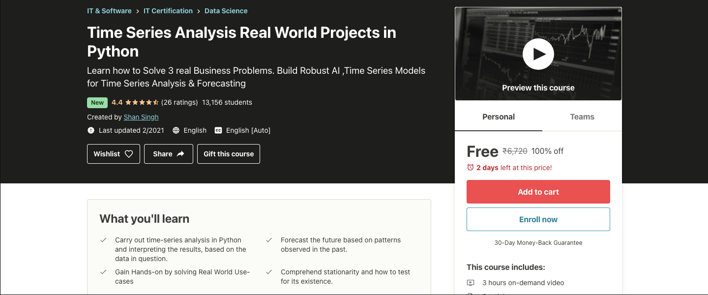 Time Series Analysis Real World Projects in Python