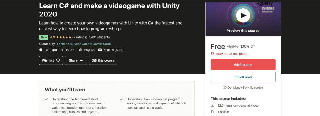 Learn C# and make a videogame with Unity 2020
