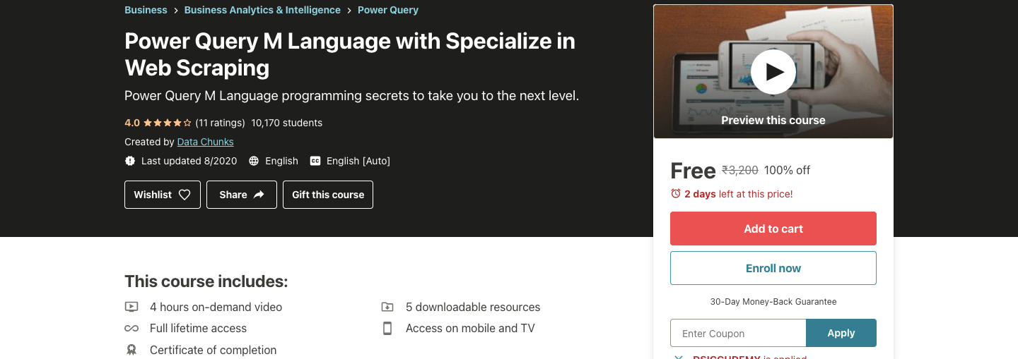 Power Query M Language with Specialize in Web Scraping