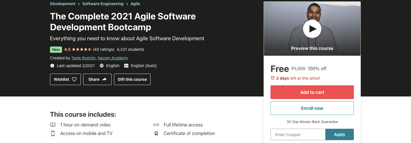 The Complete 2021 Agile Software Development Bootcamp