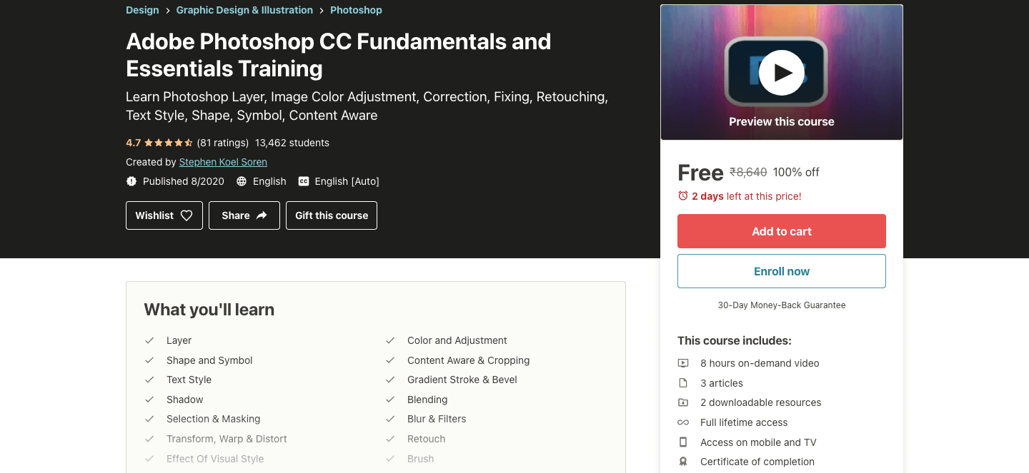 Adobe Photoshop CC Fundamentals and Essentials Training