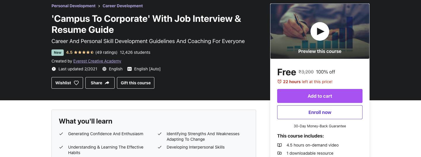 'Campus To Corporate' With Job Interview & Resume Guide