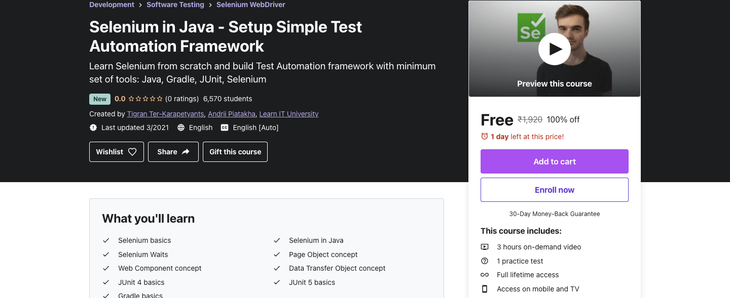 Selenium in Java - Setup Simple Test Automation Framework