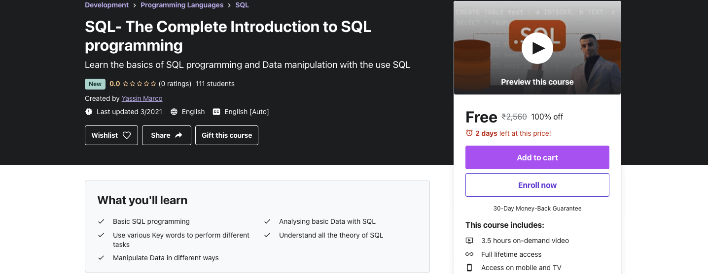 SQL- The Complete Introduction to SQL programming