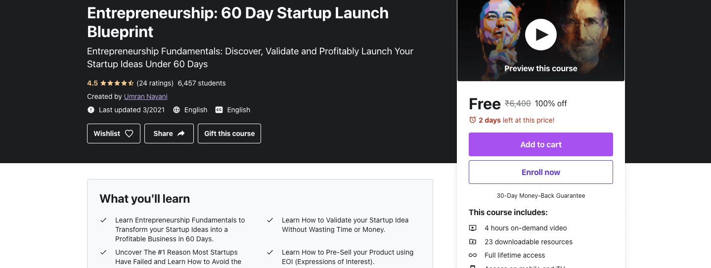 Entrepreneurship: 60 Day Startup Launch Blueprint