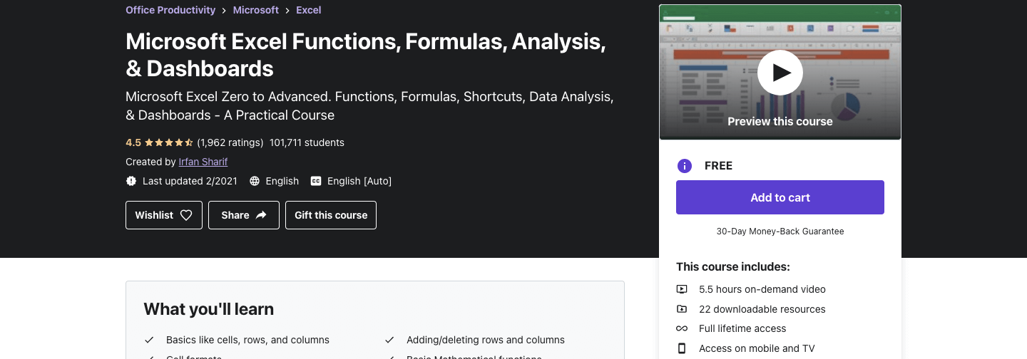 Microsoft Excel Functions, Formulas, Analysis, & Dashboards