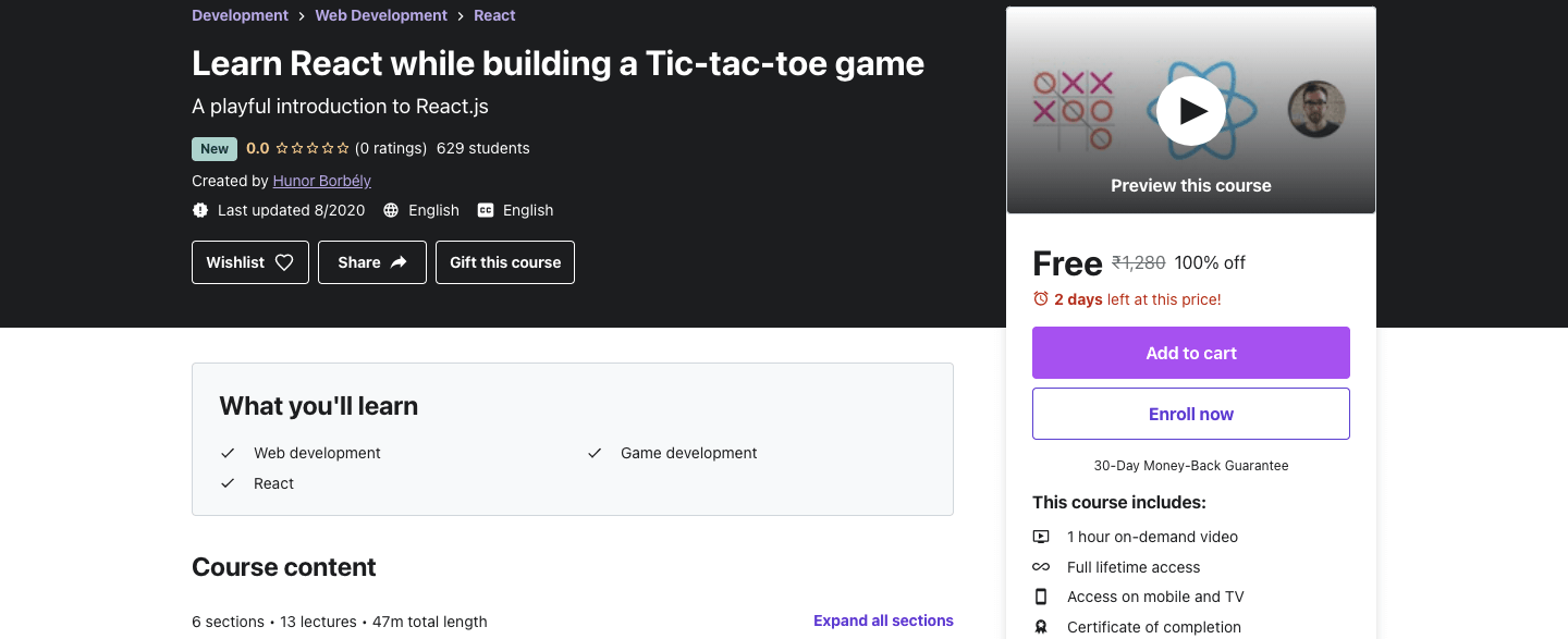 Learn React while building a Tic-tac-toe game