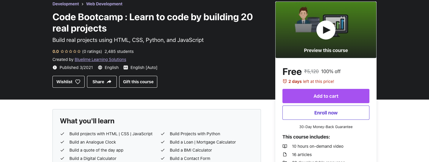 Code Bootcamp : Learn to code by building 20 real projects