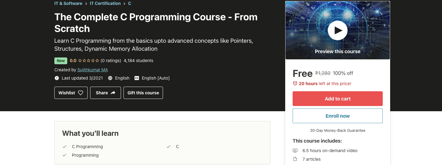 The Complete C Programming Course - From Scratch