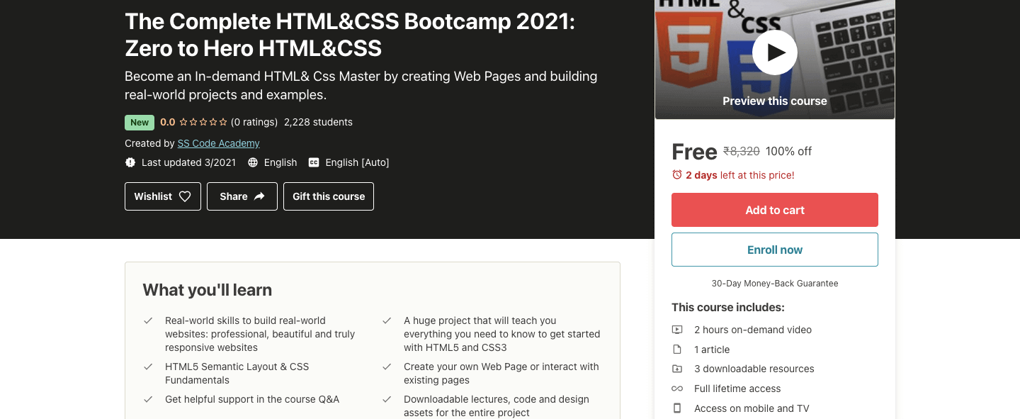 The Complete HTML&CSS Bootcamp 2021: Zero to Hero HTML&CSS