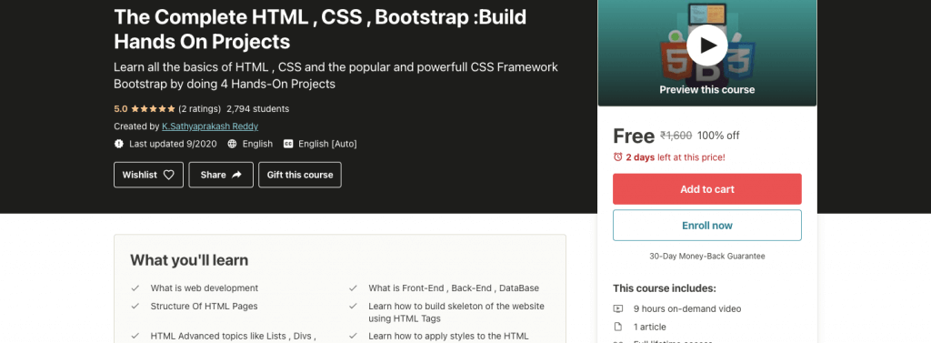 The Complete HTML , CSS , Bootstrap :Build Hands On Projects