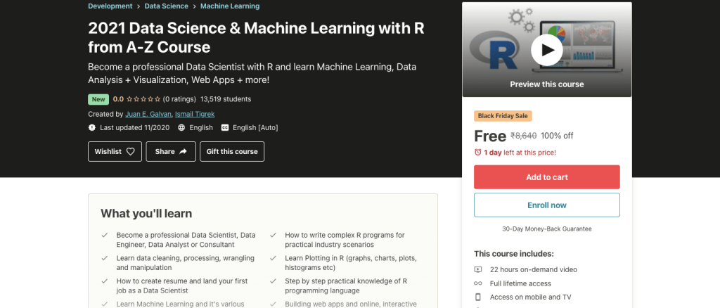 2021 Data Science & Machine Learning with R from A-Z Course