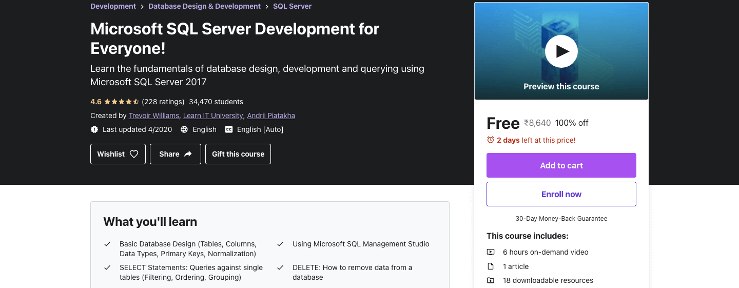 Microsoft SQL Server Development for Everyone!