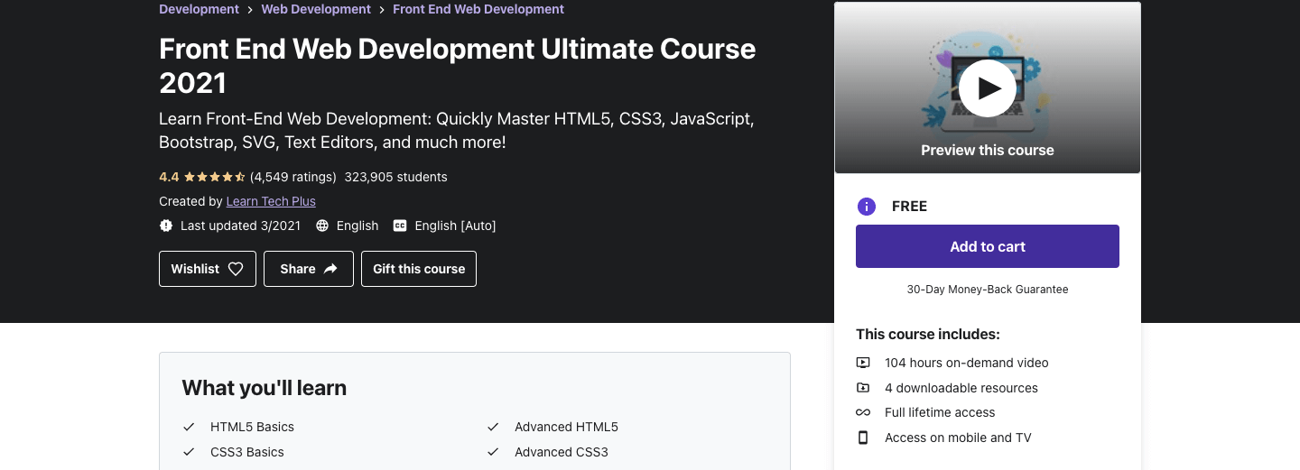 Front End Web Development Ultimate Course 2021